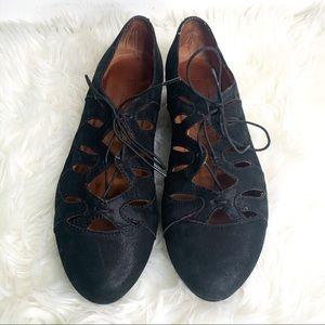 Gentle Souls Nye Black Leather Lace Up Mini Wedges